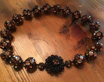 Vintage Stunning Statement Rhinestone Ball Necklace With Hidden Lock