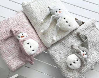 Snowman newborn wool blanket, baby sleeping bag, swaddling blanket, stroller blanket, newborn gift, baby gift, baby boy / baby girl outfit