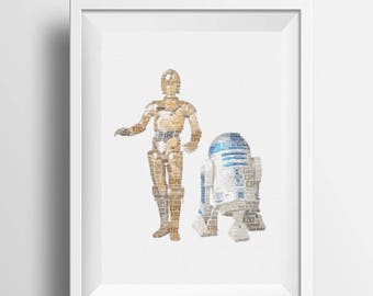 Framed word art design made to resemble C3PO and R2D2 from Star Wars , Gift Idea for Star Wars fan, Christmas, Birthday
