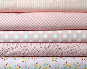 Light pink fat quarter fabric bundle