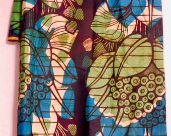 """African batik cotton yardage in blue green--68"""" by 47"""""""