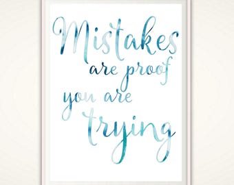Classroom Sign - PRINTABLE Mistakes are Proof You Are Trying, Classroom Decor, Craft Room Sign, Educational Decor, Homeschool Decor, PDF
