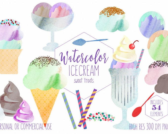 WATERCOLOR ICECREAM Clipart Commercial Use Ice Cream Clip Art Cute Icecream Treats Summer Clipart Sundaes Cones Sprinkles Toppings Graphics