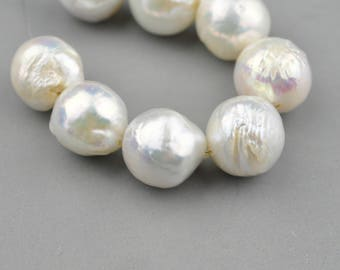 AAA White Baroque Cultured Pearls Natural Gemstone Beads