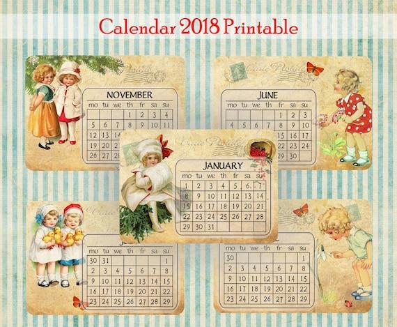2018 Calendar Vintage : Printable calendar vintage caledar editable