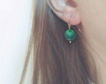 Very Green Rose Gold Plated Earrings with Malachite