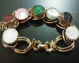 Antique Bracelet with Reversed Cameos/Beautiful Vintage Bracelet/1930's Art Bracelet/ Double Chain and Stone Bracelet/Valentine's Day Gift