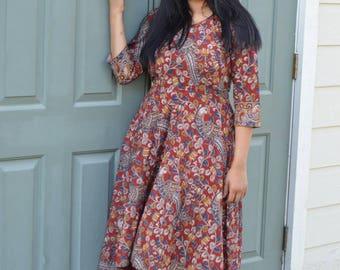 Kalamkari dress,Kalamkari high low dress, high low dress, red dress, women's dress,Kalamkari, floral dress,red high low dress,Kalamkaridress