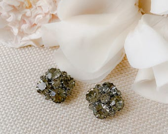 Weiss Vintage 50's Gray Rhinestone Earrings, Signed Weiss Jewel Cluster Clip Ons