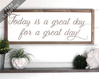 """Today is a Good Day For a Good Day Sign. Good Day Wood Sign. Scripture Signs. Inspirational Wall Art Wood. Gift For Women.  25"""" x 9.5"""""""
