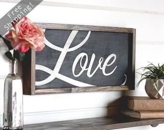 "Love Sign, Modern Farmhouse Wall Decor, Wooden Signs, Rustic Home Decor, Farmhouse Sign, Wood Love Sign, Rustic Wall Decor, 21.5"" x 9.5"""