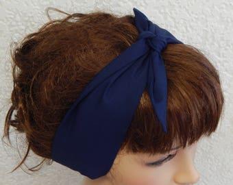 Navy Blue Retro Headband, Rockabilly Headbands, Tie Up Head Wrap, Self Tie Hairband, Vintage 50's Hair Wrap, Fabric Women's Headband