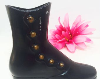 Vintage Metal Wall Pocket Victorian Women's Boot, Black- Aluminum-Gold Buttons