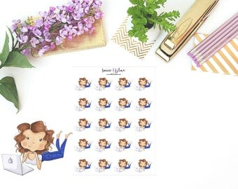 Planner Girl Becca, Laptop/Work - Character Planner Stickers