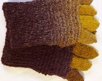Hand knitted gloves Women gloves Men gloves Hand warmers Wool gloves Brown gloves Yellow gloves Warm gloves