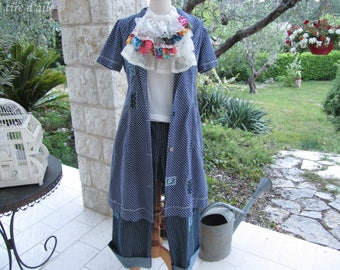 Old granny gown, and customized way magnolia, blue cotton with white polka dots