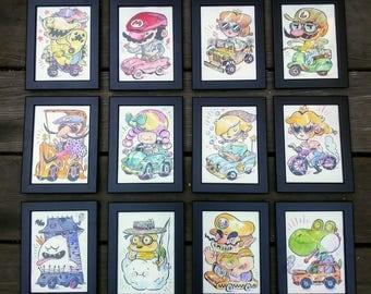 Framed Original 5x7 MayRio Paintings - Mario Kart Inspired Watercolor Paintings