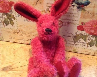 """Berry, a 7"""" limited edition hand made collector's mohair hare"""