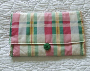 Handmade Pretty Chequered Cotton Makeup Bag Pencil Case Toiletry Bag (Large Version)