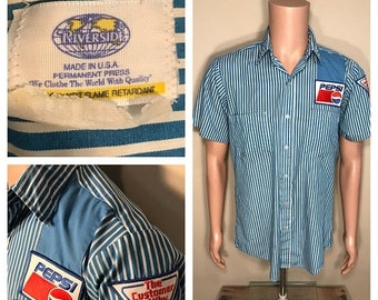 ON SALE Vintage pepsi uniform // truck driver delivery bottling uniform // rare pinstriped // the customer is why // pepsi patch shirt // 70