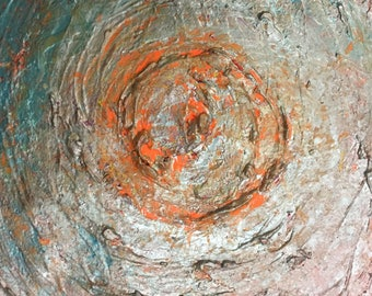 Original Textured Acrylic Painting on Stretched Canvas - Orange Is The New Blue