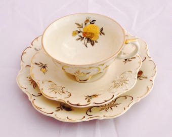 Vintage elfenbein trio, porcelain trio, Vintage trio, vintage teacup trio, Bavaria porcelain, collectible trio, German china