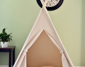 Natural Canvas Plain Adult/Kids Teepee, Play Tent, Play House, Tipi,Room Decor
