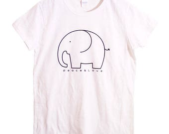 Elephant shirt, Women's Elephant T-shirt, Peace and Love, Elephant T-shirt, animal Tee