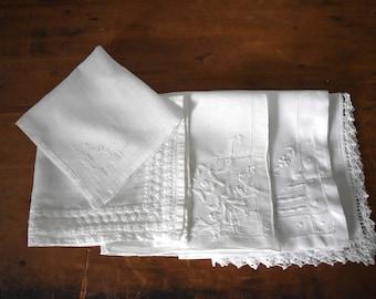 Vintage White Hankies - Lot of 5 White Vintage Hankies - White Handkerchiefs - Set of Women's Hankies
