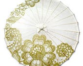 Paper Wedding Parasol with Gold Lace Design