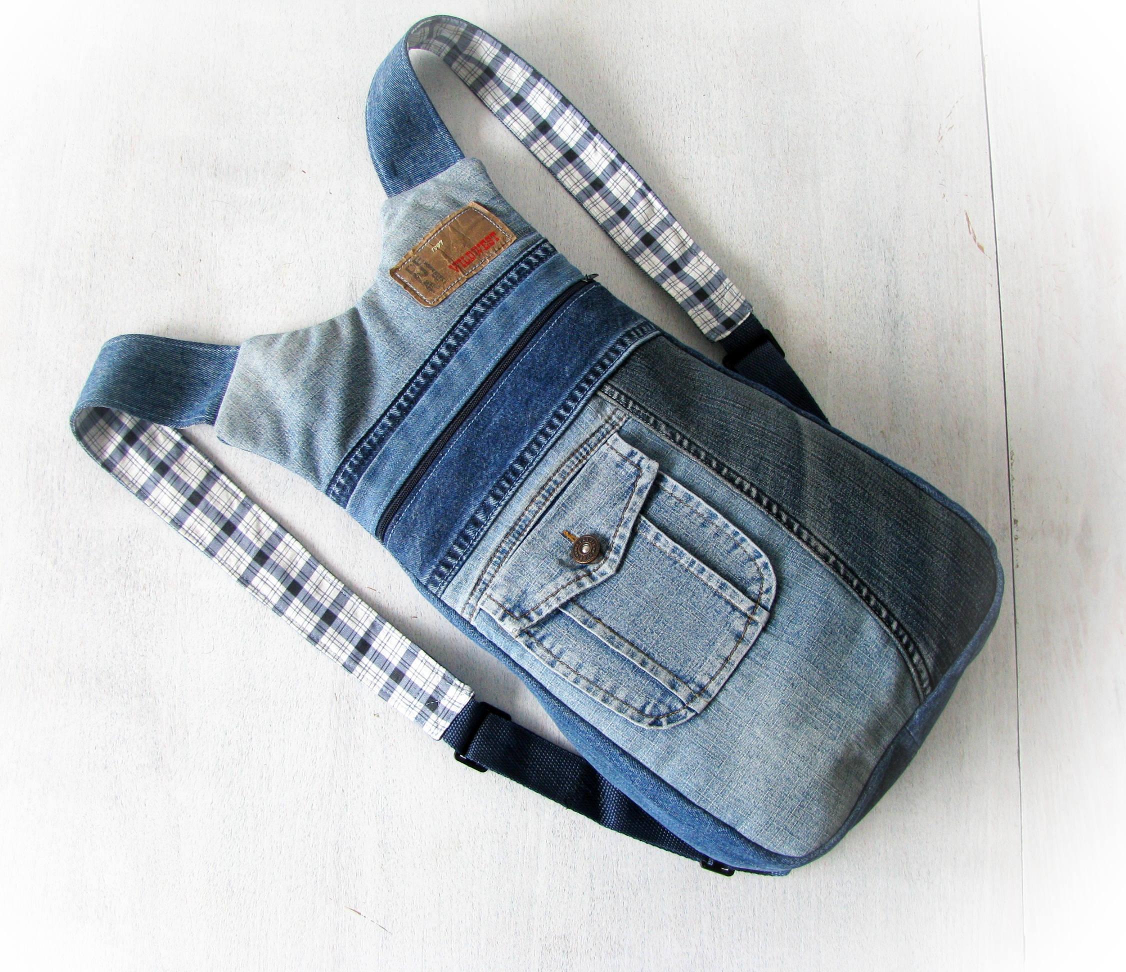 Unisex ipad jeans backpack Back to School ipad bag Denim rucksack Handmade  patchwork backpack Jean backpack 1d47d97d3ea90