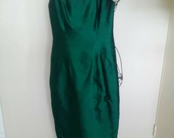 Vintage Silk Emerald Green Womens Evening Gown with Sash Size 10