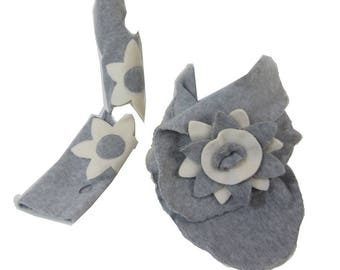 Cowl + mittens fleece gray and ecru - woman Flowa Collection
