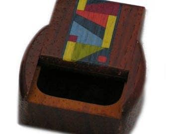 Medium Deep Wood Pill Box   Indian Paint
