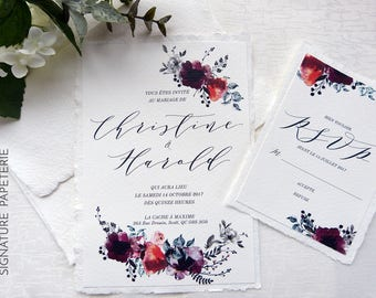 PÉTUNYA Collection - Printable Floral Wedding Invitation and RSVP card Template