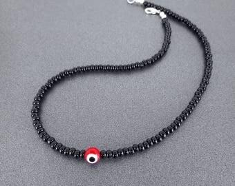Custom Black Seed Bead Evil Eye Necklace