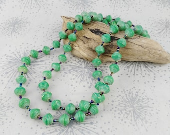 Rolled Paper Necklace - Green Paper Necklace