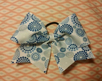 Blue Spirals - cheer bow - on  ribbon or  glitter