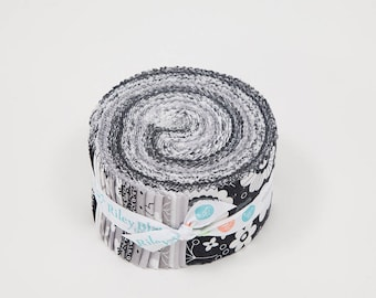 SALE Delilah 2.5 Inch Rolie Polie Jelly Roll 40 pieces Riley Blake Designs - Precut Pre cut Bundle Black and White - Quilting Cotton Fabric
