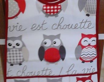 Waxed canvas apron child owls theme