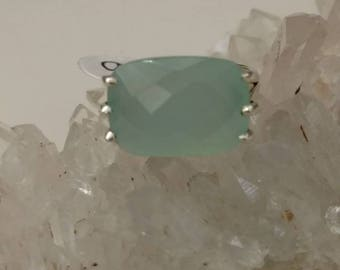 Faceted Aqua Chalcedony  Ring, Size 9