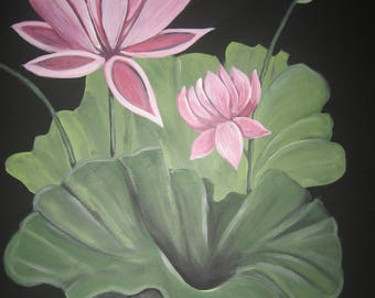 Water Lily Plant Water Lily Flower Lily Painting Custom Painting Water Lily Art Lily Art