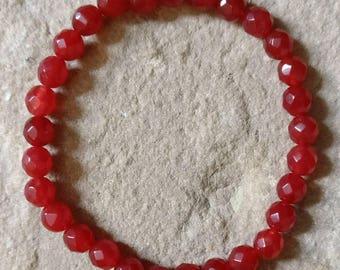 Genuine red Ruby semi precious gemstone 6mm faceted elasticated bracelet