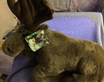 """Vintage Fiesta Moose plush NWWTS laying position 18"""" stubby tail Dated 1995 Antlers"""
