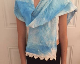 Blue Pillowcase Scarf with White Lace