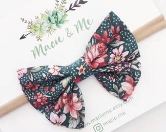 Vintage Green Floral Sailor Bow / Sailor Bow / Nylon Headband / Girls Bow Headband / Rifle Paper / Macie and Me