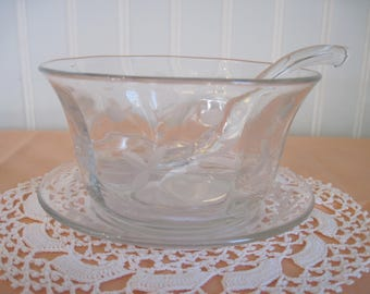 Vintage Etched Glass Mayonnaise Bowl, Under-plate and Ladle - Item #1354