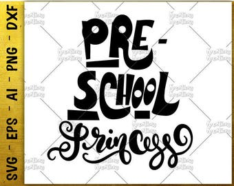 Back to school svg Pre-school princess svg hand drawn svg cut cutting file silhouette cricut cameo instant download vector svg png eps