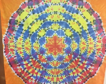Mandala Tie Dye Tapestry 45 x45 inches, Colorful Hippie Wall Art dorm decor, Psychedelic Tapestry, Handmade! One of a kind- FREE SHIPPING!