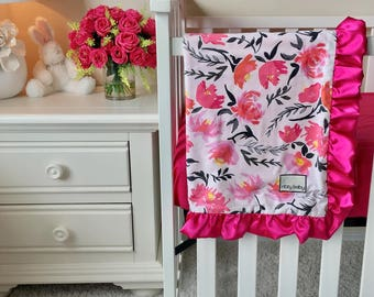 Hot Pink Floral Crib Blanket, Floral Baby Blanket, Aquarelle Study Baby Blanket, Wonderful things Baby Blanket, Reverse is Super Soft Minky